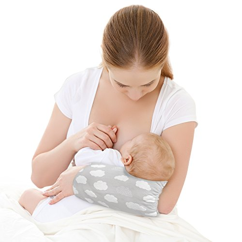 GoPillow Lite Hands-Free Wearable Arm Cushion Breastfeeding Nursing Pillow Grey Newborn Baby