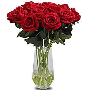 Amzali Artificial Flowers, Real Touch Flowers Long Stem Silk Artificial Rose Flowers Home Decor for Bridal Wedding Bouquet, Birthday Flowers Bunch Party Garden Floral Arrangement Red 40