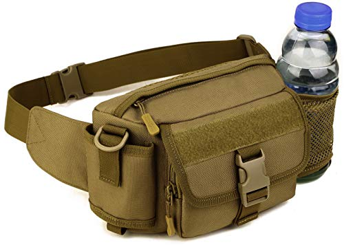 Multi Functional Waist Pack Military Single Shoulder Hip Belt Bag Fanny Packs Water Resistant Waist Bag Pouch Hiking Climbing Outdoor Bumbag