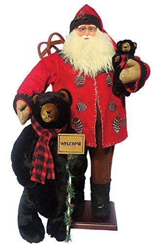 Santa's Workshop 8016 Pine Cone Santa with Bears Figurine, 36'' ,,