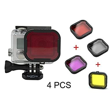 Hapurs 4 in 1 Water Sport Floating Dive Filter (Red + Yellow + Grey + PUrple) For GoPro Hero 3+ 4 Standard Housing Color Correction Accessories with ABS Plastic frame, Professional Lens Filter Accessory Kit for water sports, underwater photography