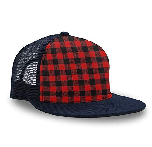Red Buffalo Plaid Baseball Cap Slouch Hat for Men and Women, Relaxed Fit Snapback Hat Baseball Bucket Cap Running Cap, Lightweight Fast Dry Hip Hop Dad Trucker Cap