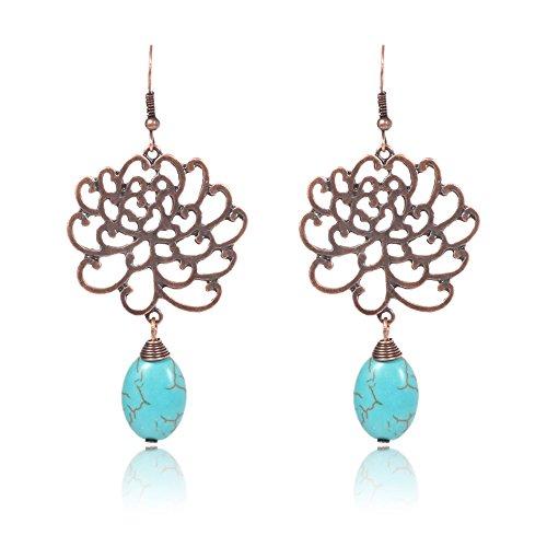 Retro Folk Style Silver Lotus Flower Blossom Teardrop Dangle Hook (Lotus Blossom Earrings)