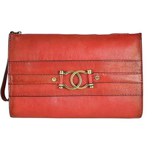 Pratesi Italian Leather Raggioli Womens Wristlet Zippered Purse Bag in cow leather Bruce Collection, Cherry