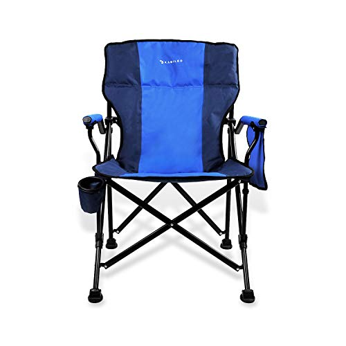Kamileo Camping Chair, Folding Portable Lawn Chair with Padded Armrest Cup Holder and Storage Pocket (Carry Bag Included) ()