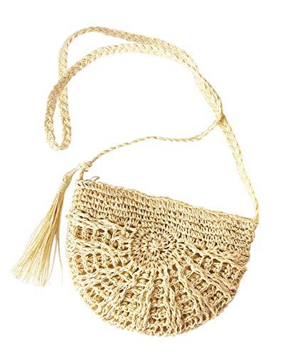 (CHIC DIARY Women Straw Bag Crossbody Handmade Woven Summer Beach Top Zipper Shoulder Purse with Tassel (#02-Beige))