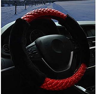 ADream Housse de Volant de Voiture en Peluche Confort Durabilité Respirant Anti-dérapant Housse de Volant de Voiture (Noir + Rouge) Taille : 38cm)