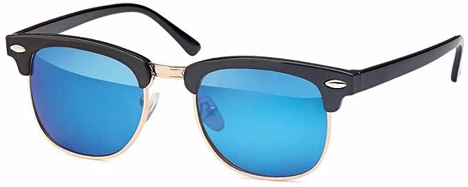 Polarisierte Unisex Edelstahl Pilotenbrille Aviator im Set mit Zubehör- UV 400 Filter (Gestell: Goldfarben/ Gläser: Blau verspiegelt) WolgkwPFwF