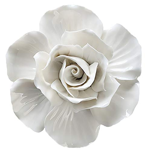 - ALYCASO Wall Decoration for Living Room, Bedroom Wall Hanging 3 d Wall Art Ceramic Flower Pediments, its White, 5.5 inch