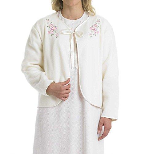 Slenderella Ladies Polar Fleece Ribbon Tie Bed Jacket Floral Embroidered House Coat 10/12 -