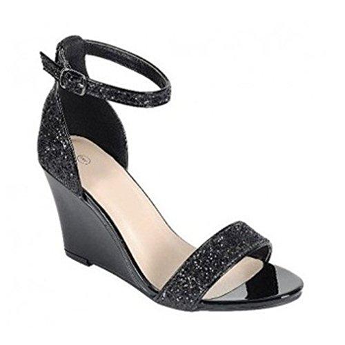 Nuevas Las Dedo Xianshu del Negro Cuña de Sólido Tacón de del pie Verano del Mujeres Sandalias del de Lentejuelas Redondas Color PABqO