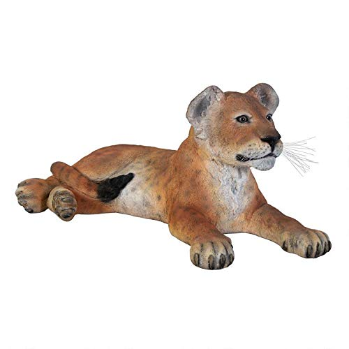 (Design Toscano The Grand-Scale Wildlife Animal Collection Lion Cub Statue Lying Down,)