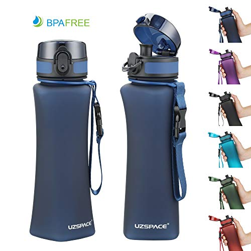 UZSPACE Fitness Water Bottle 500ml 17oz BPA Free, Eco-Friendly and Reusable with Leak-Proof Lid for Fitness Gym Yoga Running Sports