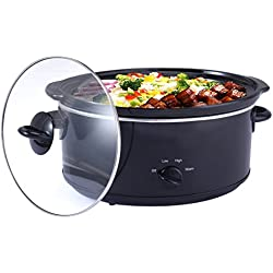 Costzon 7-Quart Large Oval Manual Slow Cooker, Stainless Steel Cookware with Tempered Glass Lid, Black