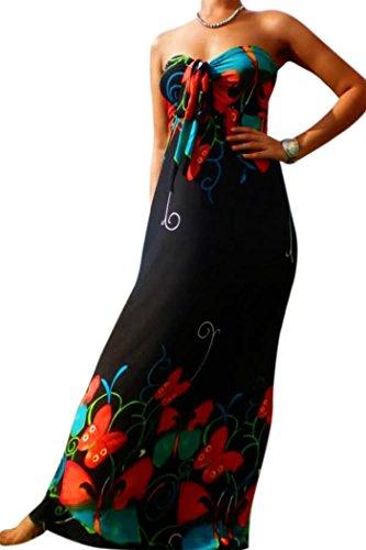 Mujer ANGELA Sujetador Bandeu Nudo Busto Vestido largo,talla GB 8-22, varios colores Negro Mariposa