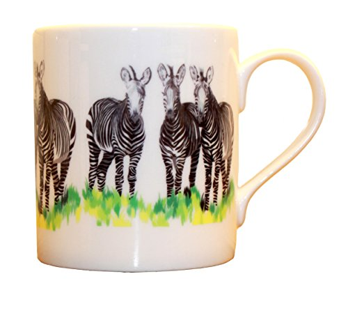 Chloe Croft London Zebras Bone China Mug, Black/Grey/White, 8.5 x 7.5 x 7.5 cm
