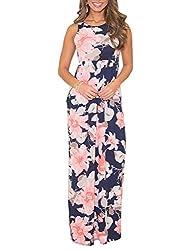 Dunea Women S Maxi Dress Floral Printed Autumn Sleeveless Casual Tunic Long Maxi Dress Large Sleeveless Pink