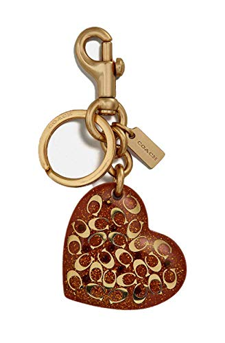 Coach Women`s Signature Heart Bag Charm (One Size, Coral/Gold)