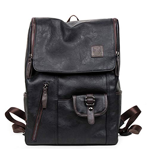 - Oil Wax Leather Backpacks Western Style Mix Cow Leather Bag For Men Travel Zip Casual Backpack