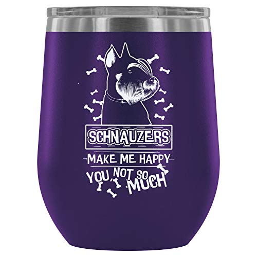 Mom Mug-Steel Stemless Wine Glass Tumbler, Dog Lover Wine Tumbler, Schnauzers Make Me Happy Vacuum Insulated Wine Tumbler (Wine Tumbler 12Oz - Purple)