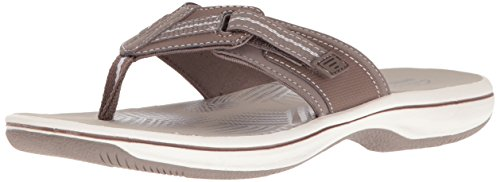Clarks Women's Brinkley Jazz Flip Flop, Pewter Synthetic, 7 M US