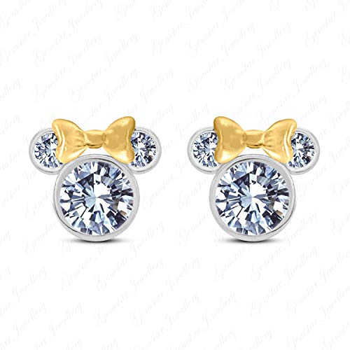 Gemstar Jewellery White Sim Diamond Disney Minnie Mouse Earrings 925 Silver 14k Two Tone Gold Plated Disney Womens Minnie Mouse