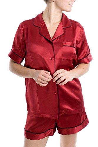 OSCAR ROSSA Women's Luxury Silk Sleepwear 100% Silk Short Sleeve Top Boxer Short Pajamas Set