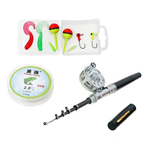 Yogayet mini pocket ice fly fishing rod and reel combos for Pocket fishing kit