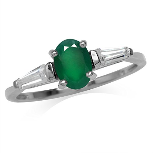 Natural Oval Shape Emerald Green Agate White Gold Plated 925 Sterling Silver Ring Size 9 ()