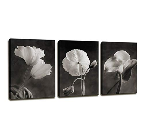 Canvas Wall Art Contemporary Simple Life White Flower Lily Painting Wall Art Decor - 3 Panels Framed Canvas Prints Black and white Style Giclee Artwork Ready to Hang Home Decorations Office Decor Gift (Art Bathroom White And Black Wall)