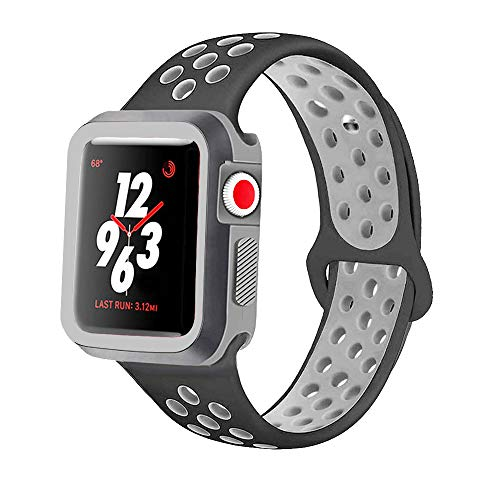 KINPEI Compatible with Apple Watch Series 1/2/3 Nike Band 38mm 42mm with Case, Soft Silicone Sport Replacement iWatch Band & Shock-Proof Protective Case (Black/Gray, 42mm M/L)