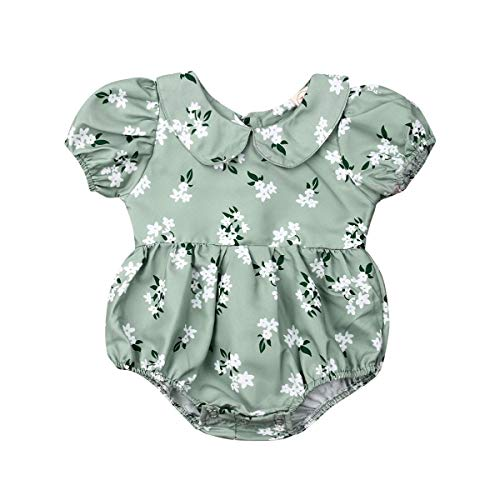 Infant Baby Girls Floral Romper Long Sleeve Bodysuit Jumpsuit Outfit with Peter Pan Collar 0-18 M (Green, 3-6 Months)]()