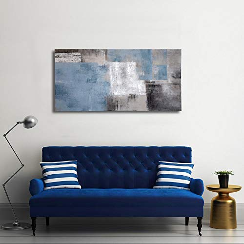 SDYA Blue Abstract Wall Art Hand Painted Oil Painting on Canvas Framed 48