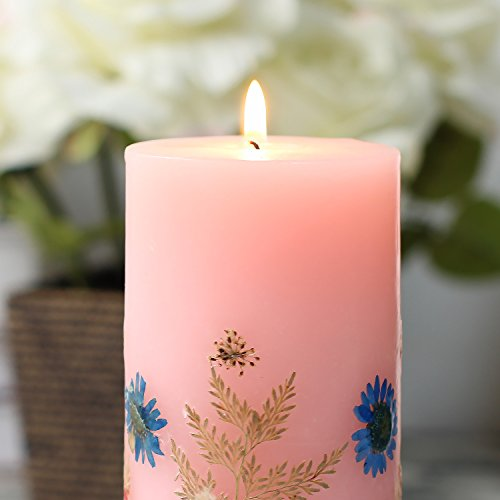 Romingo Scented Candle, Aromatherapy Candle Combustible Pillar Candle Embossed and Home Decoration, Pink, 3×5 Inches