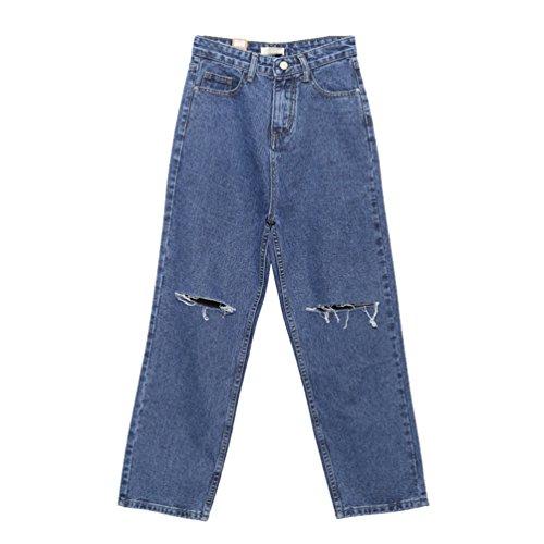 A Da Donne Vita Pants Blu Grande Lihaer Dimensione Jeans Trousers Donna Elastici Retrò Alta Moda Aa1SgxqZw