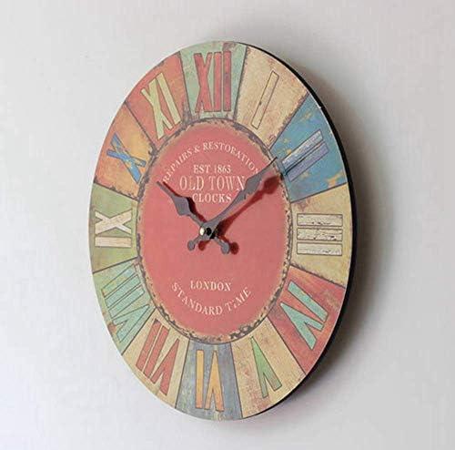家の装飾の時計、模造の木製の壁時計、リビングルームの子供部屋とコーヒーの装飾のためのキッチンの大きな壁