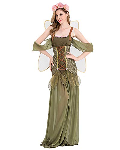 mewow Halloween Costume Women's Elegant Elf Jungle Fairy Long Queen Party Dress with Wings (US 12-14) ()
