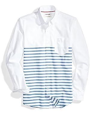 Men's Slim-Fit Long-Sleeve Placed-Stripe Pocket Oxford Shirt