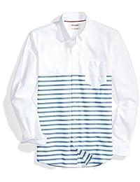 Goodthreads para Hombre Slim-fit Camisa de Placed-Stripe Bolsillo Oxford de Manga