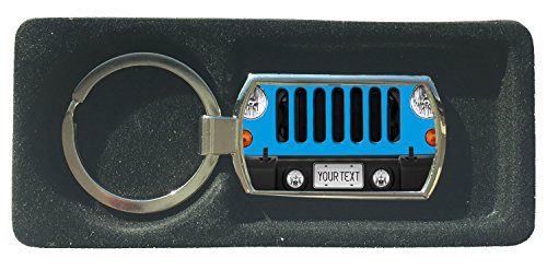 (BRGIftShip Customize Your Own SUV Bumper Car Grill Blue License Plate Metal Keychain)