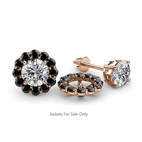 TriJewels Black Diamond Halo Jacket for Stud Earrings 0.57 ct tw in 14K Rose Gold