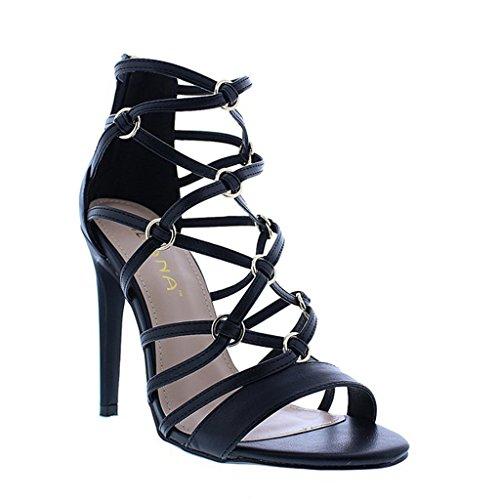 Sassy Black Peep Toe Heels - 9