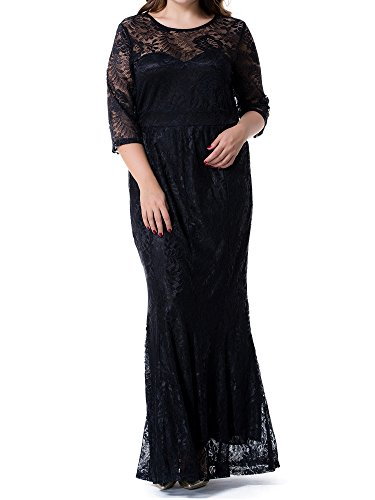 GMHO Women's Plus Size Ruched Empire Waist Sweetheart Fishtail Evening Maxi Dress (Black, 3X) (Dress Ruched Sweetheart)