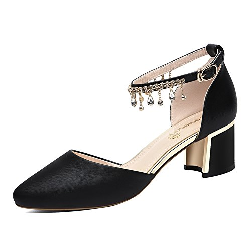5Cm Shoes Flat Shoes Women Single Black And Drills In With Pale Heel Bold High HGTYU The Water Summer a0PCnSwq