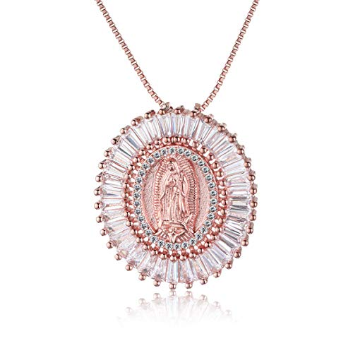 (COTTVOTT Charms Virgin Mary Pendant Necklace Women Statement Sweater Chain (Rose Gold Color))
