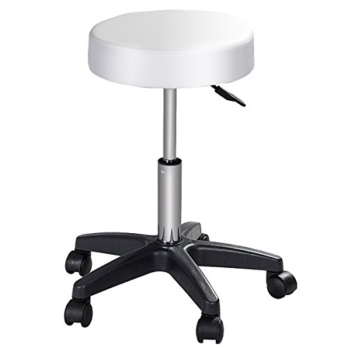 COSTWAY Round Height Adjustable Hydraulic Rolling Swivel Bar Stools With Casters Wheel 360 Degree Rotation Stool Chair for Home Kitchen Office Salon Facial Massage Stool(White) ()