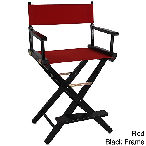 Solid American Trails Extra-Wide Premium 24-inch Square Seat Counter High Director's Chair (Red/Black) by Plugtronics