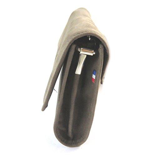 Bolso de la bolsa de cuero brillante 'Les Trésors De Lily'topo (2 compartimentos)- 16x8x3 cm.