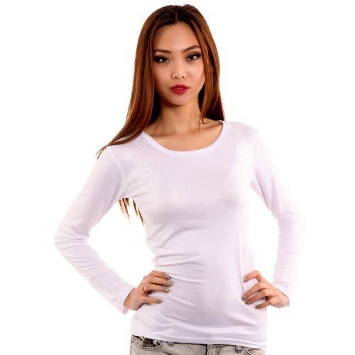 Maglia Bianco Basic Young Donna Lunghe Manica Lunga Maniche A fashion 6B5xBqWw1