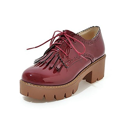 T-JULY Womens Fashion Oxfords Shoes - Comfy Lace-up Mid Heel Round Toe Tassel Casual Shoes Red